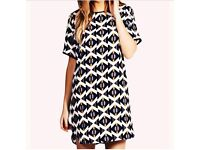Boohoo Geo Print Shift Dress Size 16 (not true to size more a 12) BRAND NEW