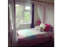 Girls Pink Single Four Poster Bed And Voiles And Understorage Drawer