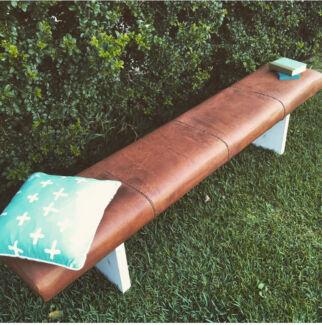 Large boho leather bench seat