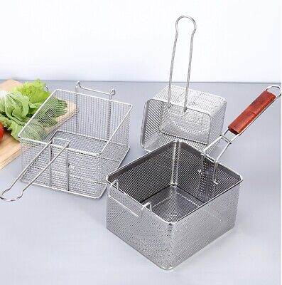 Stainless Steel Wire French Fry Chips Basket Net Strainer Kitchen Cooking -