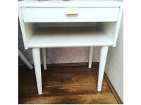 Retro white and gold bedside occasional table