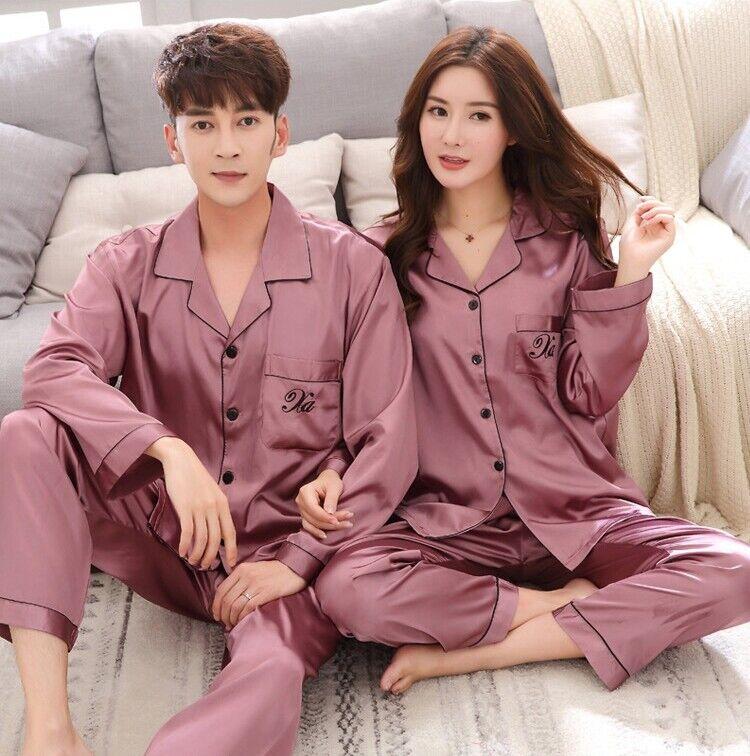 1 Set Men Silk Satin Loose Sleepwear Suit Long Sleeve Shirt and Pants Pajamas Pyjamas Plus Size
