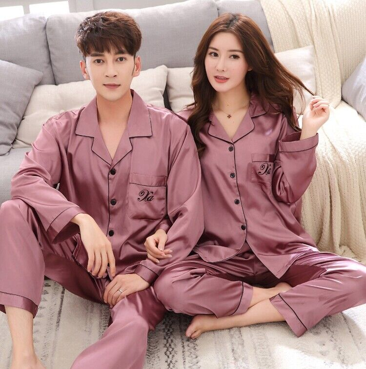Women Silk Satin Pajamas Set Long Sleeve Robes Sleepwear Homewear Nightwear M-XL