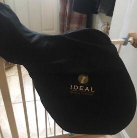 Ideal Black Highland & Cob GP Leather Saddle- Wide- 17.5inch