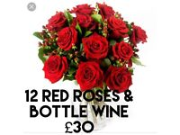 12 red roses 🌹 free 🍷