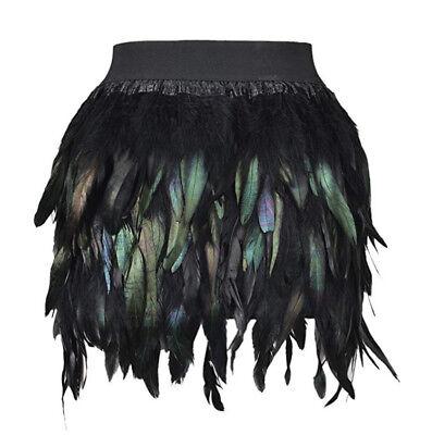 Autumn Womens Feather Irregular Stitching Dress Winter Boho Casual Mini Skirt