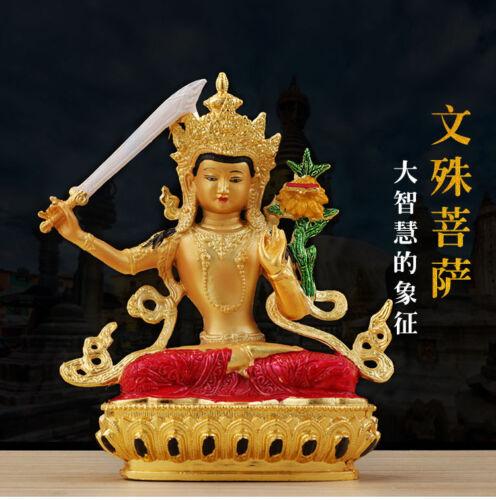 "5"" Tibet Buddhism alloy gilt gold hand painted Manjusri Buddha statue"