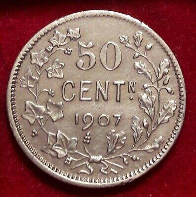 50 cent 1907 vlaams  met punt  LEOPOLD II Belgïe Belgique