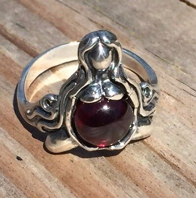 Goddess Garnet Ring - Goddess of Abundance Ring .925 Sterling Silver Sz 6 w/ Natural Garnet gemstone