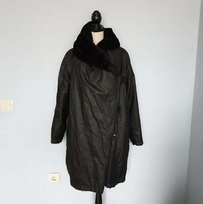 IVAN GRUNDAHL Black Womens Faux Jacket Winter Coat Size 36 /Oversize Reversible