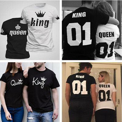 Unisex Summer King and Queen Couple Tee Love Matching Short Sleeve T-Shirts Tops