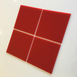 Square Acrylic Wall Tiles - Red