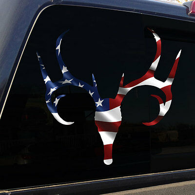 American Flag Buck Deer Skull Antlers Decal Sticker Graphic for Truck Car SUV (Deer Antlers For Cars)
