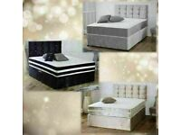 🔵💖🔴AMAZING OFFER🔵💖🔴CRUSHED VELVET DIVAN BED WITH MATTRESS AVAILABLE IN SINGLE,DOUBLE/KING SIZE