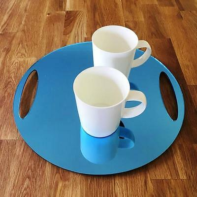 """Round Flat Serving Tray - Blue Mirror Acrylic, 3mm Thick, 32cm 12.5"""" Diameter"""