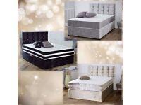 CRUSHED VELVET DIVAN BED & HAND TUFTED SPRUNG MEMORY FOAM MATTRESS & CRUSHED VELVET HEADBOARD