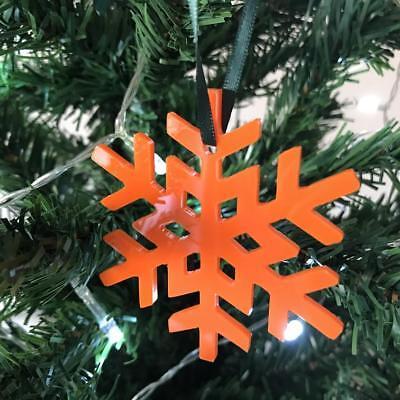 Orange Crystal Snowflake Christmas Tree Decorations & Green Ribbon x 10 ()