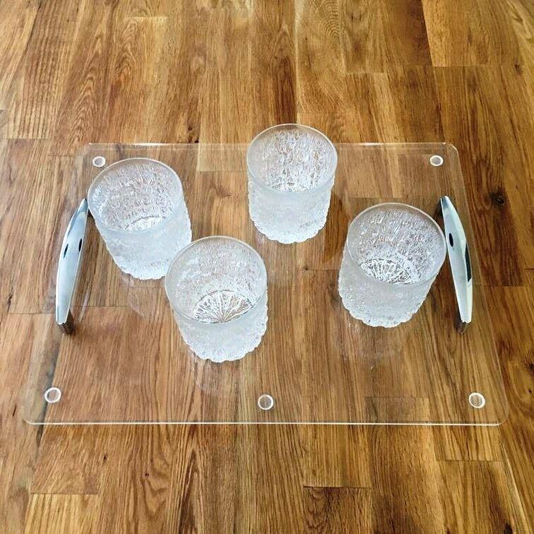 Rettangolare Vassoio con Maniglie - Trasparente