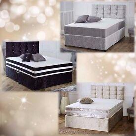 CRUSHED VELVET DIVAN BED + MEMORY MATTRESS + HEADBOARD 3FT 4FT 4FT6 Double 5FT 6FT SUPER KING