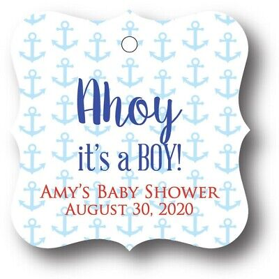 Nautical Boy Baby Shower (24 Nautical Anchor Baby Shower Thank You Favor Tags! Ahoy it's a)