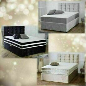 💛💛CASH ON DELIVERY💛💛 DOUBLE CRUSHED VELVET DIVAN BED BASE WITH DEEP QUILTED MATTRESS