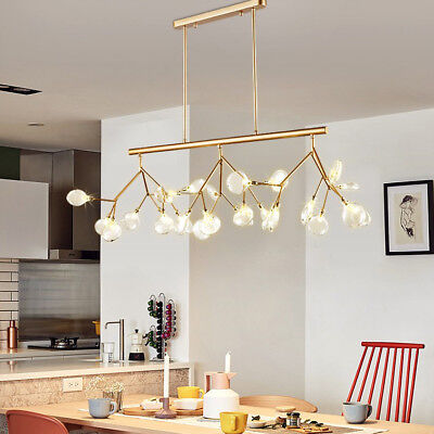 Modern Deluxe Style Clear Glass Shade Tree Branch Large Linear Pendant Light ()