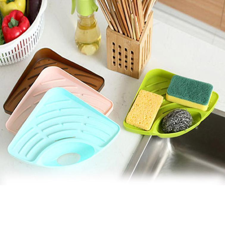 Sponges Kitchen Sink Corner Shelf Wall Cuisine Dish Rack Drain Plastic Holder