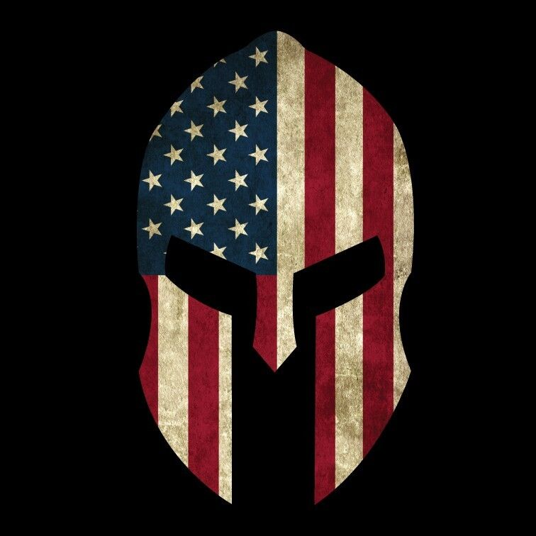 Spartan Helmet American Flag 2 Grunge Military Decal