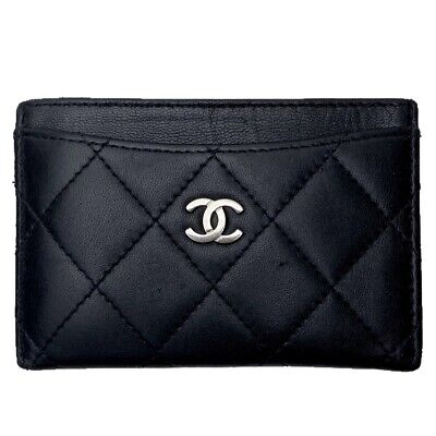 Chanel Authentic Quilted Lambskin Leather Black Cardholder Wallet Purse Used