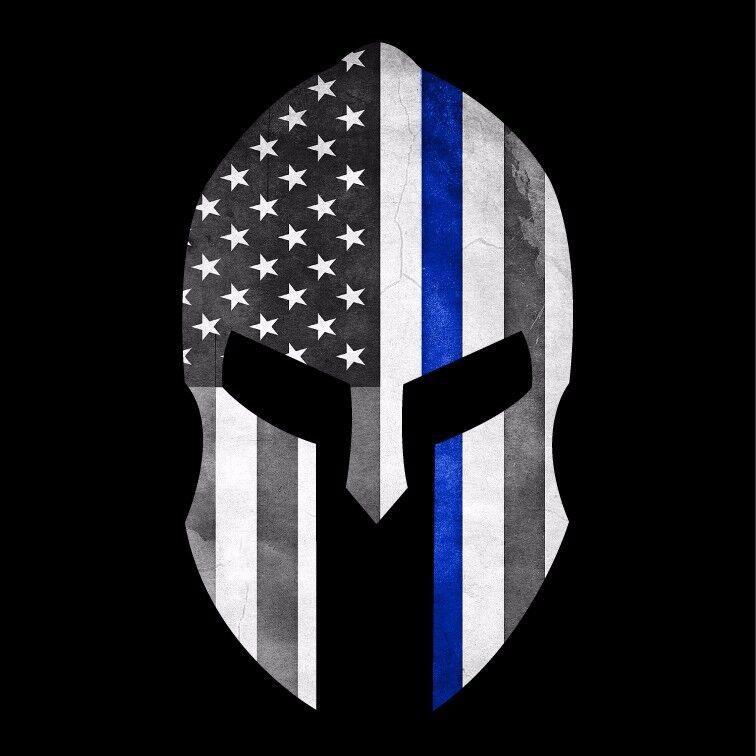 Thin Blue Line Grunge Police Spartan Helmet Military