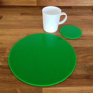Rotondo-Tovaglietta-e-Set-Di-Sottobicchieri-Verde-Brillante