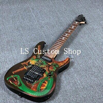 Electric Guitar Skull Snake Basswood Body Top Maple Neck Gloss Finish