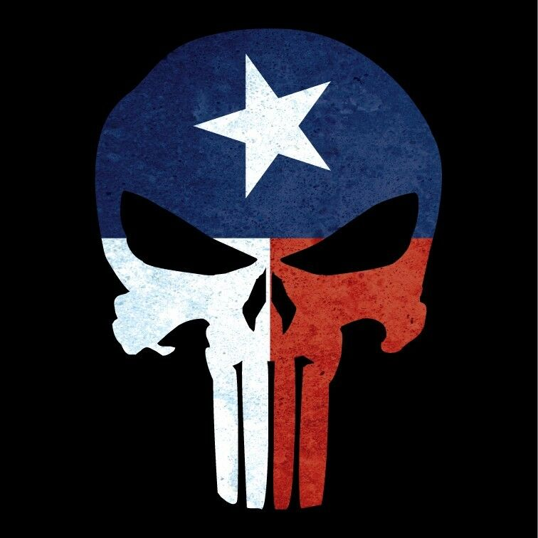 Punisher Skull Texas Flag Military Decal Sticker Graphic