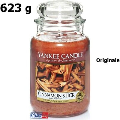 1 YANKEE CANDLE Giara Grande Candele Profumate Cera Rosso Bastoncino di Cannella