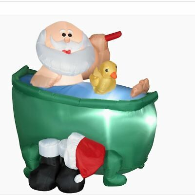 CHRISTMAS 4' WIDE AIRBLOWN INFLATABLE SANTA IN BATHTUB LIGHTED GEMMY