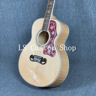 38'' Top Quality Solid Top Acoustic Guitar Flamed Maple Back&side Abalone Inlay