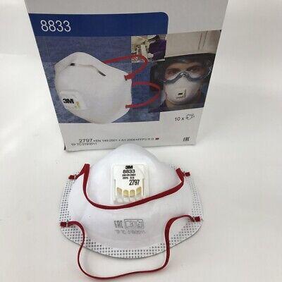 10x 3M 8833+ FFP3 Atemschutzmaske mit Ventil Mundschutz Partikelfilter