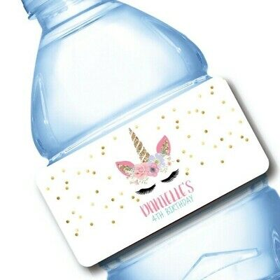 Water Bottle Wrappers (20 Unicorn Face Party Favor Water Bottle Labels)