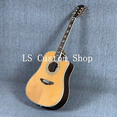 D45S Solid Spruce Top Acoustic Guitar Abalone Inlay Rosewood Pickguard Bone Nu
