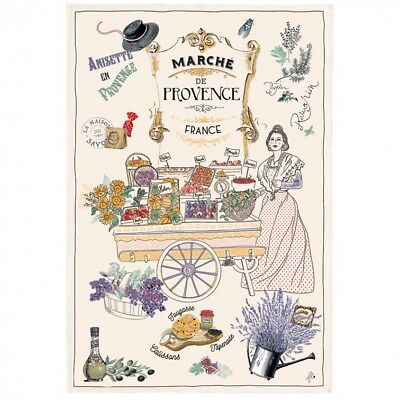 Painted Provence Kitchen - French Kitchen Dish/Tea Towel Provence Market 100 % Cotton Made In France
