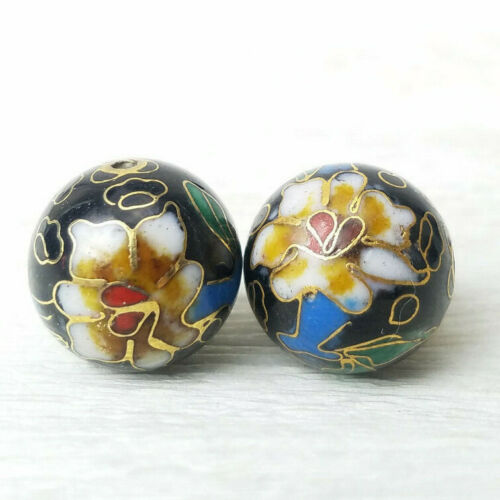 VNTG Unusual Black w/ Tan Center Flowers Cloisonne Chinese Enamel 14mm 2 Beads