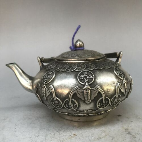 China antique rare Tibetan silver Peacock phoneix Flagon Teapot qianlong mark