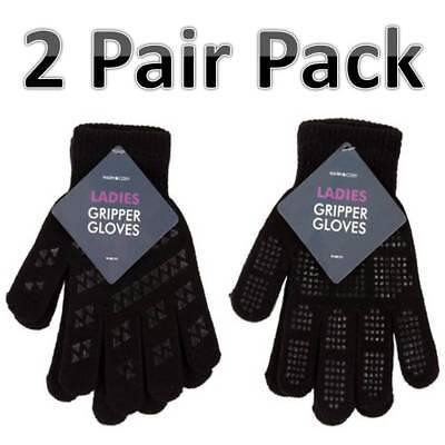 2 x Pairs LADIES Grip Driving BLACK FULL FINGER PADS THERMAL WINTER GLOVES.