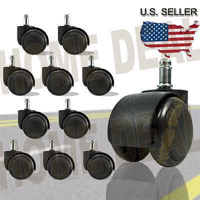 10 X Twin Wheel Replacement Office Chair Swivel Caster W Grip Ring Stem Black