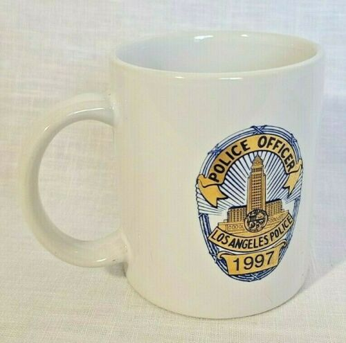 Police Officer coffee cup LAPD 1997 mug buckle up gold foil design Los Angeles