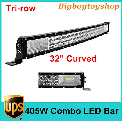 7D+ 32inch 405W Curved Tri-Row LED Light Bar Combo Driving Vehicle Lamps Offroad
