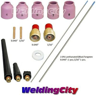 Tig Welding Torch 920 Kit Gas Lens-tungsten Blue .040-116 T49b Us Seller