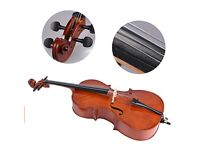 1/2 Wooden Cello, Gloss Finish Basswood Face Board with Bow and Carrying Bag