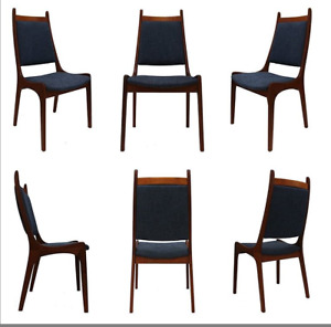 6 SCULPTURAL TEAK MID-CENTURY DANISH STYLE DINING CHAIRS
