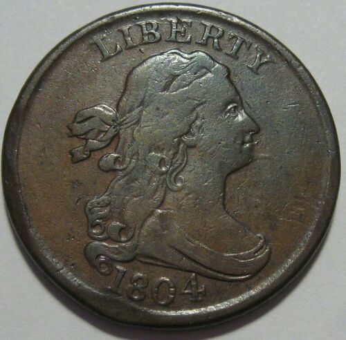 = 1804 VF SPIKED CHIN Half Cent, Nice Details & EYE Appeal, FREE Shipping